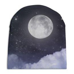 """Шапка унисекс с полной запечаткой """"Ночь и луна"""" - космос, ночь, небо, облака, луна"""