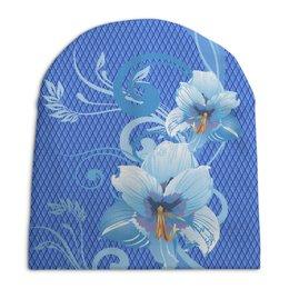 """Шапка унисекс с полной запечаткой """"Лилии"""" - цветы, лилия, ромб, синий, голубой"""