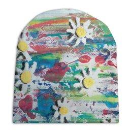 """Шапка унисекс с полной запечаткой """"Ромашки"""" - цветы, 8 марта, весна, краски"""