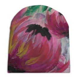 """Шапка унисекс с полной запечаткой """"Полевые цветы"""" - лето, цветы, весна, розовый, подарок"""