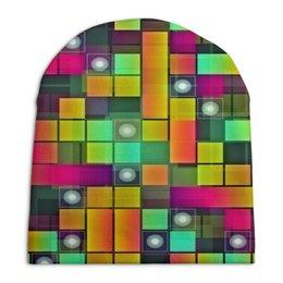 """Шапка унисекс с полной запечаткой """"Графика"""" - цветные, квадраты, круги, узоры, графика"""