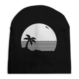 """Шапка унисекс с полной запечаткой """"Остров"""" - море, природа, пейзаж, волны, песок"""