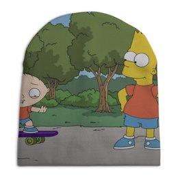 "Шапка унисекс с полной запечаткой ""Bart and Stewie"" - приколы, мульт, stewie, bart"