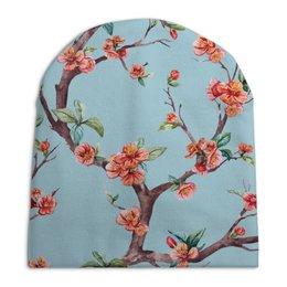 """Шапка унисекс с полной запечаткой """"САКУРА"""" - сакура, цветы, нежность"""