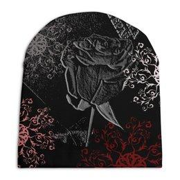 """Шапка унисекс с полной запечаткой """"Темная роза."""" - надпись, узоры, роза, розы"""