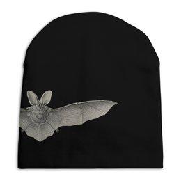 """Шапка унисекс с полной запечаткой """"Летучая мышь, Эрнст Геккель"""" - хэллоуин, черно-белый, летучие мыши, красота форм в природе, эрнст геккель"""