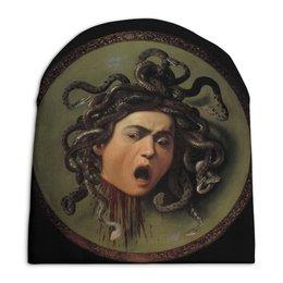 "Шапка унисекс с полной запечаткой ""Медуза (картина Караваджо)"" - картина, караваджо"