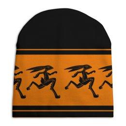"""Шапка унисекс с полной запечаткой """"Древнегреческая шапка для бега."""" - бег, греция, зайцы, ваза"""