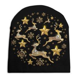 """Шапка унисекс с полной запечаткой """"Олени"""" - новый год, олень"""