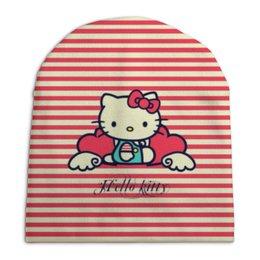"Шапка унисекс с полной запечаткой ""Ретро (Hello Kitty)"" - hello kitty, мультфильм, котик, в полоску, рэтро"
