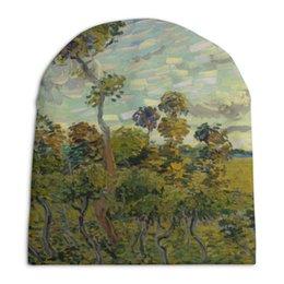 "Шапка унисекс с полной запечаткой ""Закат в Монмажуре (Винсент ван Гог)"" - картина, ван гог"