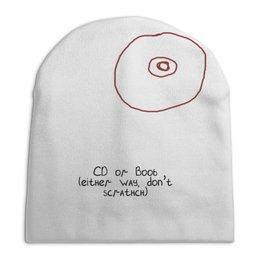 """Шапка унисекс с полной запечаткой """"CD или титя"""" - диск, грудь, cd, не царапать"""