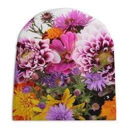"""Шапка унисекс с полной запечаткой """"Цветы"""" - арт, цветы, 8 марта, день рождения, букет"""