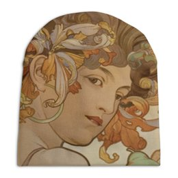 """Шапка унисекс с полной запечаткой """"Осенняя для девушек"""" - арт, девушка, картина, альфонс муха"""