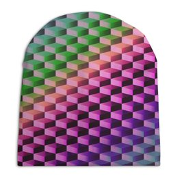 """Шапка унисекс с полной запечаткой """"Градиент"""" - графика, краски, геометрия, градиент, шестиугольник"""
