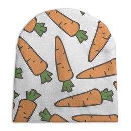 """Шапка унисекс с полной запечаткой """"Морковки"""" - морковь, овощи, лето, здоровье, веган"""