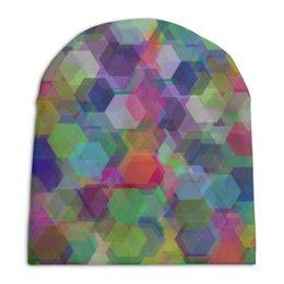 """Шапка унисекс с полной запечаткой """"Орнамент 3d кристаллы-гексагоны"""" - праздник, орнамент, подарок, абстракция"""