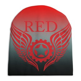 "Шапка унисекс с полной запечаткой ""RED'S Logo"" - мотоцикл, шестерёнки, механика, байкер, red"