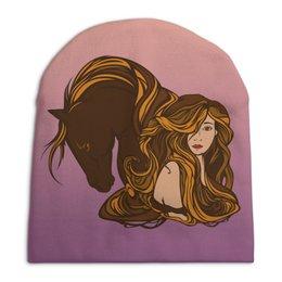 """Шапка унисекс с полной запечаткой """"Девушка и лошадь"""" - девушка, лошадь"""