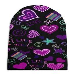 """Шапка унисекс с полной запечаткой """"Любовь"""" - сердце, любовь, подарок, сердечки, i love you"""