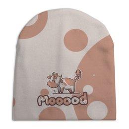 """Шапка унисекс с полной запечаткой """"Mooood"""" - настроение, корова"""