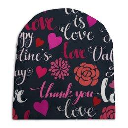 """Шапка унисекс с полной запечаткой """"День Св. Валентина"""" - любовь, сердца, валентинка, день св валентина"""