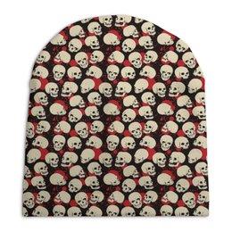"""Шапка унисекс с полной запечаткой """"Skulls"""" - череп, скелет, тьма"""