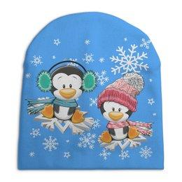 """Шапка унисекс с полной запечаткой """"Пингвин зимой"""" - новый год, зима, пингвин, снежинки"""