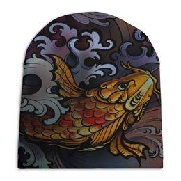 "Шапка унисекс с полной запечаткой ""Карп Кои "" - tattoo, тату, япония, карп, кои"