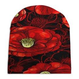 """Шапка унисекс с полной запечаткой """"Цветы мака"""" - цветы, весна, цветные, цветочки, красные"""