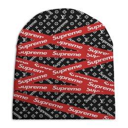 """Шапка унисекс с полной запечаткой """"Supreme"""" - узор, надписи, бренд, supreme, суприм"""