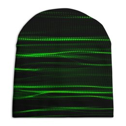 """Шапка унисекс с полной запечаткой """"Зеленые линии"""" - полосы, волны, текстура, линии"""