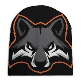 """Шапка унисекс с полной запечаткой """"Wolf / Волк"""" - животные, черный, иллюстрация, волк, wolf"""