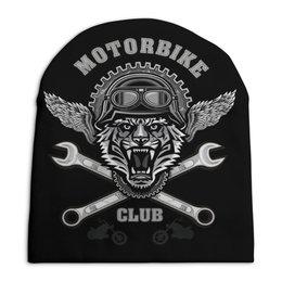 """Шапка унисекс с полной запечаткой """"Байкер"""" - спорт, мотоцикл, байкер, тигр"""