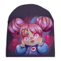 """Шапка унисекс с полной запечаткой """"Влюбленная аниме девочка"""" - любовь, розовый, чиби, гном, chibi"""