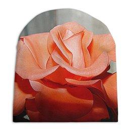 """Шапка унисекс с полной запечаткой """"Алая роза."""" - цветок, роза, розы, алый, алая роза"""