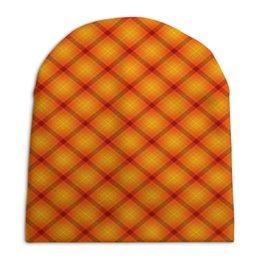 """Шапка унисекс с полной запечаткой """"Клетка оранжевая"""" - оранжевый, полосы, клетка, квадраты, линии"""