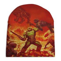 """Шапка унисекс с полной запечаткой """"Doom """" - игры, doom, дум, геймерские, для геймеров"""