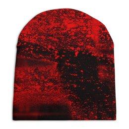 """Шапка унисекс с полной запечаткой """"Красные брызги"""" - красный, пятна, краски, брызги, черно-красный"""