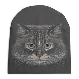 """Шапка унисекс с полной запечаткой """"Котик"""" - кот, животное"""