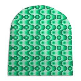 """Шапка унисекс с полной запечаткой """"Ретро #1"""" - волны, круги, зеленый, светлый, темный"""