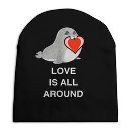"""Шапка унисекс с полной запечаткой """"Love. Тюлень. Любовь."""" - любовь, счастье, отношения, подарок, любимым"""