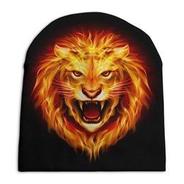 """Шапка унисекс с полной запечаткой """"Огненный лев"""" - лев, огонь"""