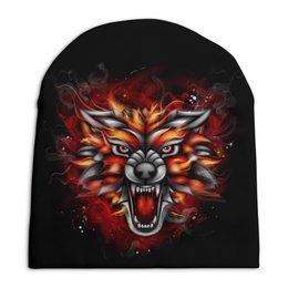 "Шапка унисекс с полной запечаткой ""Wolf & Fire"" - огонь, волк, fire, дым, wolf"