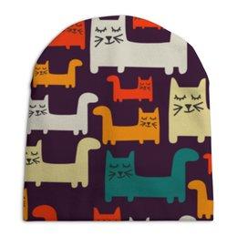 """Шапка унисекс с полной запечаткой """"Спящие котики"""" - коты, животные, спящие котики, прикольные коты"""