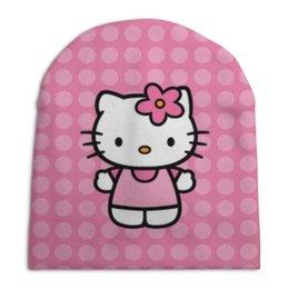 """Шапка унисекс с полной запечаткой """"Kitty в горошек"""" - мультик, hello kitty, мультфильм, для детей, привет китти"""