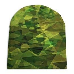 """Шапка унисекс с полной запечаткой """"Геометрия"""" - узор, зеленый, абстракция, фигуры, треугольники"""