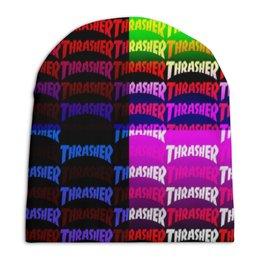 "Шапка унисекс с полной запечаткой ""Thrasher"" - надписи, бренд, brand, thrasher, трешер"