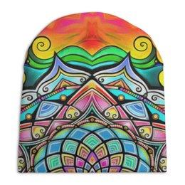"Шапка унисекс с полной запечаткой ""Mandala HD2"" - узор, ретро, классика, этно, симметрия"