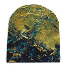 """Шапка унисекс с полной запечаткой """"Abstract"""" - картина, разводы, абстракция, живопись, золотой"""